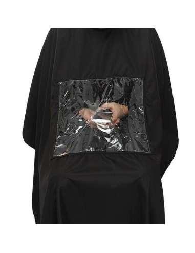 Peinador negro largo con hueco transparente
